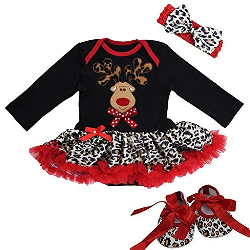 Baby Christmas Leopard Red Reindeer Bodysuit Tutu Crib Shoes Set