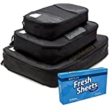 Travel Packing Cubes by Oventure - Set of 3 - FANTASTIC FALL SALE - Lightweight, Slim Organizers in Black | Best Accessories for Travel | Keep Your Luggage, Bags, and Suitcases Packed Neatly | Lifetime Guarantee