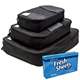 Search : Travel Packing Cubes by Oventure - Set of 3 - Lightweight, Slim Organizers in Black | Best Accessories for Travel | Keep Your Luggage, Bags, and Suitcases Packed Neatly | Lifetime Guarantee