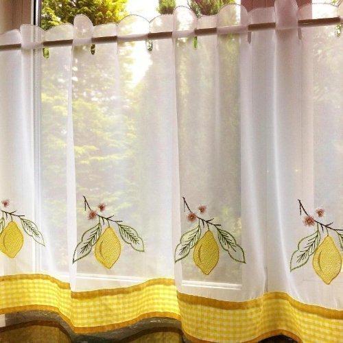 PCJ SUPPLIES Café Gardine Tolle Qualität Zitronen Weiß Blumen Vorhang 152x45cm