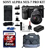 Sony Alpha NEX-7 24.3 MP Compact Interchangeable Lens Camera with Sony E-Mount SEL 1855 18-55mm f/3.5-5.6 Zoom Lens (Black) + Velsey Gadget Bag + 64GB SDXC Card + Travel charger + Card Reader + Giottos Cleaning Kit + Filter Kit ~ Sony