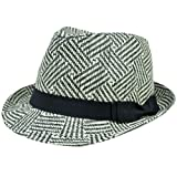 Small Medium Hat Straw Fedora Trilby Black Herringbone Women Ladies Ribbon FD178