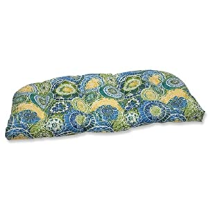 Pillow Perfect Outdoor Omnia Lagoon Wicker Loveseat Cushion from Pillow Perfect