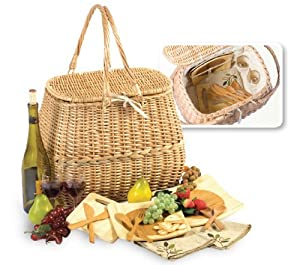 2-Person Eco-Friendly Natural Willow Picnic Basket Set with Plates & Utensils