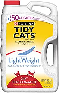 Tidy Cats Cat Litter, Clumping, 24/7 Performance, LightWeight, 8.5-Pound Jug, Pack of 2