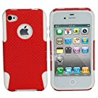 myLife (TM) Red + White Urban Armor (2 Piece Mesh Hybrid) Toughsuit Case for iPhone 4/4S (4G) 4th Generation Touch Phone (Thick Outer Shockproof Rubber + Soft Internal Silicone Gel)