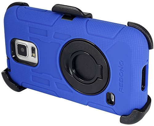 Rebono Samsung Galaxy S5 Rugged Shockproof Defender Case With Rotating Belt Clip & Kickstand - Combo Deal (Blue)