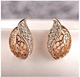 Fashion Base Ladies Elegent Diamond Leaf Shape Hollow Heart Stud Earrings