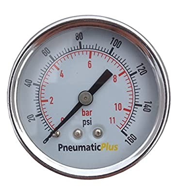 "PneumaticPlus PSB15-160CP Air Pressure Gauge for Air Compressor WOG Water Oil Gas Chrome Plated 1-1/2"" Dial Center Back Mount 1/8"" NPT 0-160"