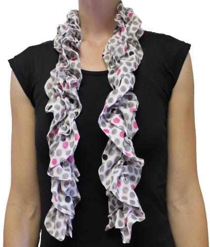 Kamrielle Scarves Pink & Grey Polka Dot Double Ruffle Scarf