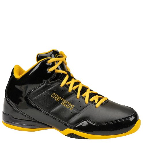 AND1 Men's Master Mid Black/Warrior Gold Mid Top Athletic Basketball Sneakers