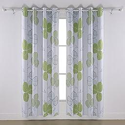 Deconovo Leaf Pattern Design Digital Printed Thermal Insulated Grommet Blackout Curtains for Bedroom 52\