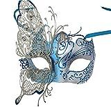 Cristal d 'Arques Masquerade Máscara veneciana mariposa de metal brillante Mardi Gras Máscara Multicolor