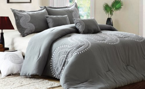 Marvelous  Detail shop Casual Elegance Embroidery Classics Piece King Comforter Set Exclusively from Home Dynamix Clarissa Light Gray