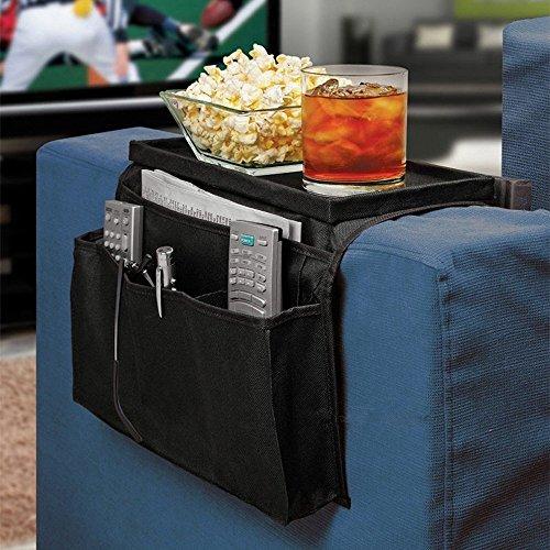 6 Pocket Sofa Arm Rest Organizer, Cala Qute Sofa Arm Rest Organizer with Hard Cardboard Table-Top (Black) (Chair Pocket Organizer compare prices)