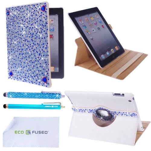 *BLING* 360 Rotating iPad 3 White Leather Case