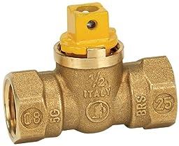 Homewerks VGV-1FS-B3B Flat/Square Head Gas Valve, Female Thread, Brass, 1/2-Inch