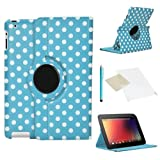 Light Blue/White Rotating Tablet Case for Google Nexus 7, PU Leather Cover with Screen Protector & Stylus (2013 Model 2nd Generation) by iChoose®