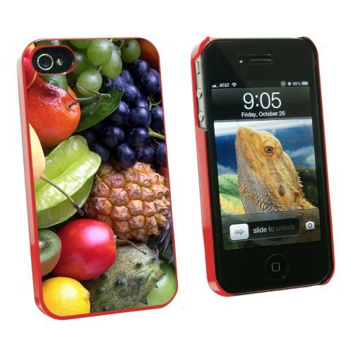 Tropical Fruit - Pineapple Starfruit Kiwi - Snap On Hard Protective Case for Apple iPhone 4 4S - Red