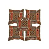 Rajrang Green Cotton Applique Border With Mirror Patch Cushion Cover Set Of 5 Pcs #Ccs03035