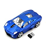 CHUYI Cool Sport Car Shape 2.4Ghz Wireless Mouse 3 Button 1600DPI High Tracking Speed Optical Mouse Gaming Mice USB Receiver for PC Laptop Computer (Blue) (Color: Blue)
