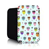 CUTE OWLS Pattern [BLUE] HTC ONE V (M) Shock Resistant Neoprene Mobile Phone Case, Cover, Pouch