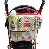 Vine Cochecito Organizador Bolsa Cochecito Accesorios pañales para bebé cochecito bolsa organizador de cochecito de almacenamiento Pink Strip con bolsas de aislamiento-Manzana 34 * 33 CM