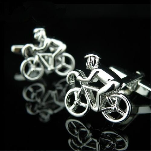 Mgmi® Silver Tone Bike Rider Cufflinks