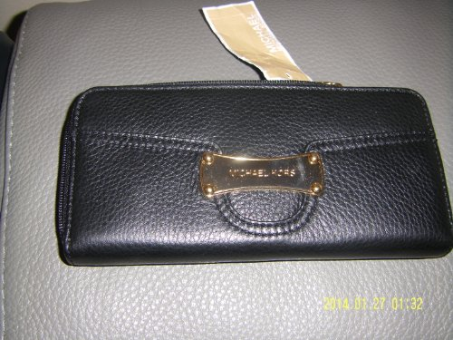 Michael Kors Saratoga Za Continental Genuine Leather Wallet Black