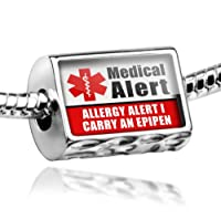 "Neonblond Beads Medical Alert Red ""Allergy Alert 1 Carry an Epipen"" - Fits Pandora Charm Bracelet by NEONBLOND Jewelry & Accessories"