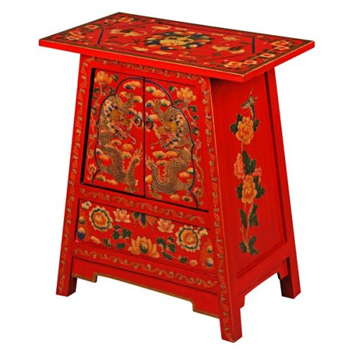 Cheap EXP Handmade Asian Furniture – 28″ Red Tibetan Cabinet / End Table With Gold Dragon & Flower Motif (B001B11HDQ)