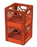 Buddeez MC01016O172C Milk Crates, 16-Quart, Orange, 2-Pack