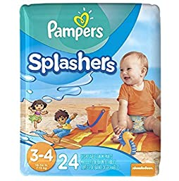 Pampers Protection Leaks Super Stretchy Splashers Baby Diapers ,Size 3-4 - 24 ct,Won?t swell up in water