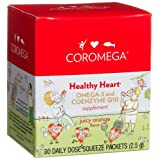 Coromega Healthy Heart, Omega-3 and Coenzyme Q10 Supplement, 30-Count Squeeze Packets