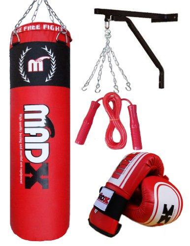 MADX - Set da boxe, composto da sacco da boxe (120 cm), guanti, gancio e atena, 5 pz
