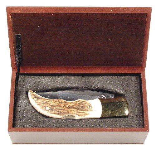 Ruko 2-1/2-Inch Blade Folding Knife With Plain Edge Genuine Deer Horn Handle