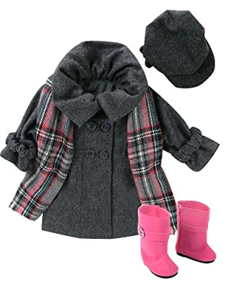 Doll Dress Coat fits American Girls Dolls, 4 Pc. 18 Inch Doll Coat/Clothing Set Includes Stylish Gray Coat, Doll Hat, Plaid Scarf & Hot Pink Doll Boots by Sophia's