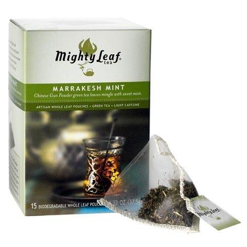 Mighty Leaf Marrakesh Mint Tea, 15 Whole Leaf Pouches, 1.32 Oz.