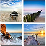 Wieco Art - Seaview Modern Seascape Giclee Canvas Prints Artwork Contemporary Landscape Sea Beach Pictures to Photo Paintings on Canvas Wall Art Christmas Gifts for Home Decorations Wall Decor 4pcs/set