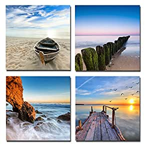 Wieco Art - Seaview Modern Seascape Giclee Canvas Prints Artwork Contemporary Landscape Sea Beach Pictures to Photo Paintings on Canvas Wall Art for Hot sale Home Decorations Wall Decor 4pcs/set