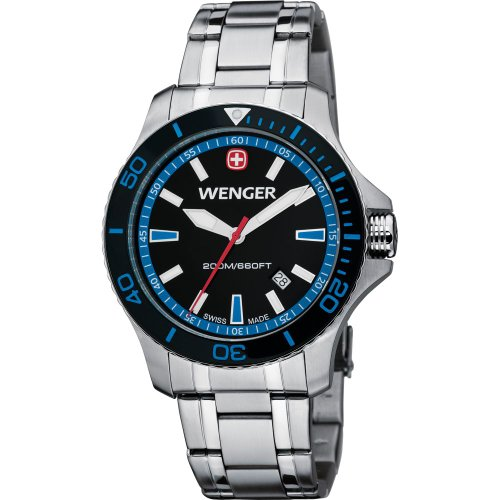 Wenger Sea Force Black & Blue Dial With Stainless Steel Bracelet 59-4017