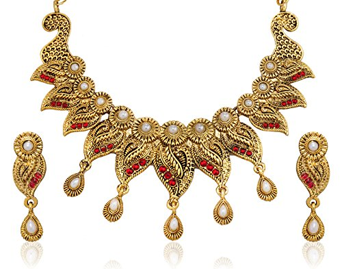Zaveri Pearls Antique Leaf Traditional Necklace Set for Women-ZPAM03