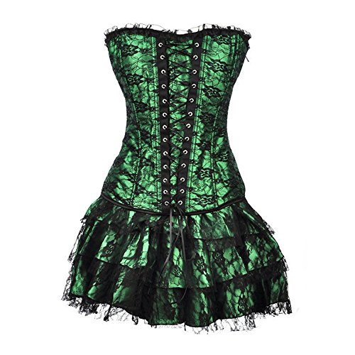 Women's Lace up Satin Gothic Poison Ivy Costume Corset Skirt