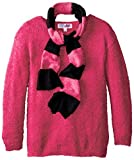 Derek Heart Big Girls Tunic Length Feather Sweater with Scarf