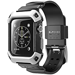 Apple Watch Case, SUPCASE [Unicorn Beetle Pro] Rugged Protective Case with Strap Bands for Apple Watch / Watch Sport / Watch Edition 2015 [38 mm Not Compatible with 42 mm] (White)