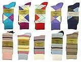 Fine Fit Mens Designer Dress Socks Argyle & Striped Size 10-13 (10 Pairs)