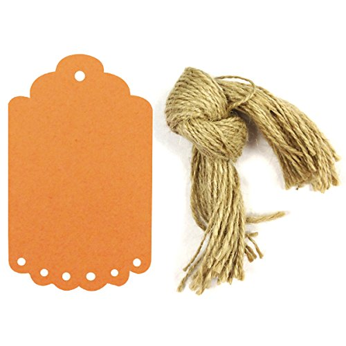 Wrapables 50 Count Gift Tags/Kraft Hang Tags with Free Cut Strings for Gifts, Crafts and Price Tags, Large Scalloped Edge, Orange