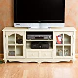 Plasma LCD TV Stand Console Cottage Style Antique White Finish
