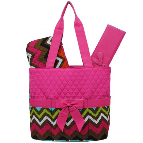Multi Color Chevron Print 3pc. Diaper Bag (Hot Pink)