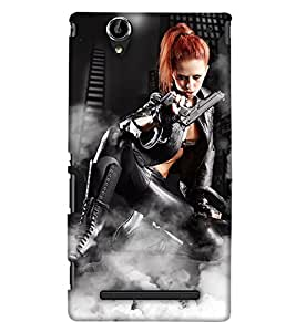 PrintHaat Designer Back Case Cover for Sony Xperia T2 Ultra :: Sony Xperia T2 Ultra Dual SIM D5322 :: Sony Xperia T2 Ultra XM50h (beautiful girl holding a gun in boots :: golden hair girl posing with a gun :: in golden, black and white)